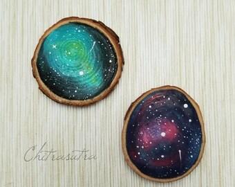 Wood slice art, Constellation art, Galaxy magnet, Hand painted magnet, Wood slice, Refrigerator art, Office decor, Nature art, Galaxy art