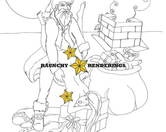 Santa Sutra - Santa Roof-top Fun -  Adult XXX Digital Download Colouring Page