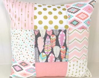 Decorative Pillows, Cushion Cover, Throw Pillows, 18 x 18, Nursery Decor, Pillow Cover, Pillow Feather Aztec Blush Pink Coral Gold Mint Girl