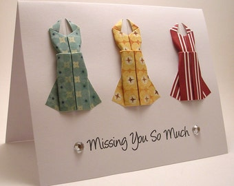 Mini Origami Dress Card (Missing You So Much. Red Yellow Blue)