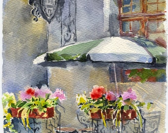 Street scene painting - old town watercolor original - street cafe