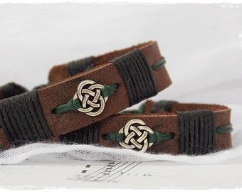 Men's Leather Bracelet, Leather Cuff Bracelet, Irish Leather Bracelet, Nordic Leather Bracelet, Leather Celtic Jewelry, Elven Leather Cuff