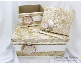 Wedding Set of 4 Lace Bridal Flower Guest Book + Matching Pen Custom Amenities Program Box Card Money Box in Champagne, Tan and Ivory