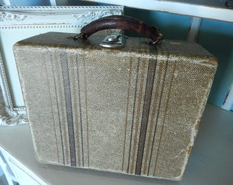 Vintage Tweed Train Case - Vintage Makeup Case - Tweed Striped Overnight Case - Stacking Suitcases - Photo Prop Train Case