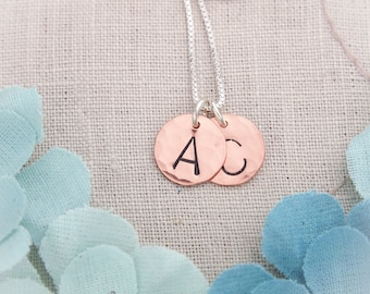 Initial Necklace in Copper Handstamped and Personalized Hand Stamped Jewelry