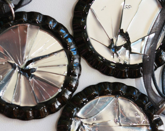 Gothic Shattered Mirror Necklace, Broken Glass Necklace, Unique Mirror Necklace, Broken Mirror Necklace by Cinnamon and Silver