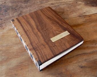 wedding photo album scrapbook in Black Walnut wood  anniversary gift memorial book  parent gift -  rustic wedding retirement - made to order