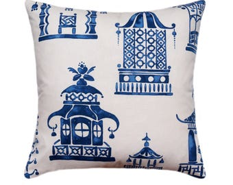 Pagoda Pillow Cover // Blue Decorative Pillow Cover // Ming Pagoda Zephyr // Chinoiserie Pillow with Hidden Zipper // Oriental Gardens