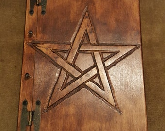 Wooden handmade book with Pentagram, FREE UK SHIPPING, Book of Shadows, journal, pentacle, Wicca, Pagan, diary, magickal book, spell book