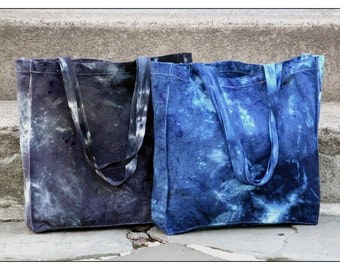 Canvas Tote Bag - Textured - Hand Dyed - Tie Dyed - Shibori