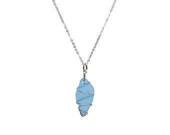 Sea Glass Shard Wire Wrapped Pendant Long Statement Necklace , 28 inches