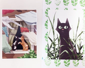 Graphic illustration sweet postcards