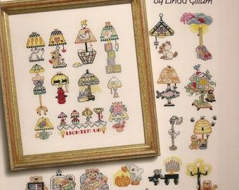 Cross Stitch Patterns,50 Ways to Lighten Up by Linda Gillum,Cross stitch lamps designs, cross stitch lanterns, cross stitch light,