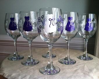 9 Personalized Bride and Bridesmaid Wine Glasses