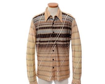 Vintage 70s Men's Mod Disco Shirt 1970s Monzini by Monticello Stripe Print Polyester Blend Retro Dance Party Knit Shirt / mens L