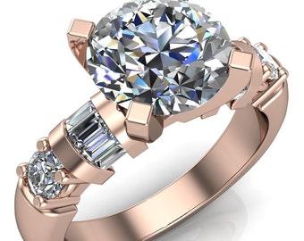 Isla Round Moisanite 4 Prong Center 4 Diamond Side Engagement Ring