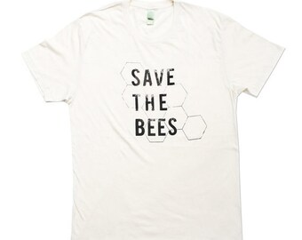 Save The Bees Tshirt - Unisex Bee Tee - Organic Cotton - Small, Medium, Large, XL - Clothing