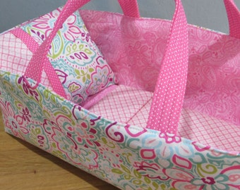 Doll Carrier, Pink and Aqua with Pink Paisley Lining, 14 Inches Long,  Baby Doll Basket
