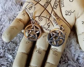 Pentagram earrings, Pentacle