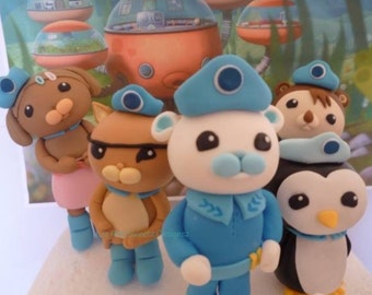 Worldwide Shipping 3D Octonauts Gumpaste characters Cake Topper Cake Decoration x 4 kwazii, captain barnacles peso
