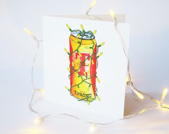 Tennents Lager Scottish Christmas Card - Fairylight Beer Illustration Festive Greetings Card