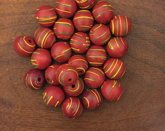 Painted Wood Beads Red Yellow Green 1960s Craft Jewelry Supplies 26 Ct