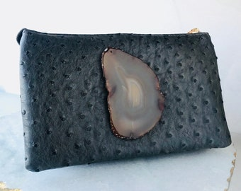 Grey Clutch with Tan Agate Slice, Agate Purse with Cross Body and Wristlet Strap. Unique and one of a kind gift! Handmade Agate Clutch.