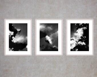 Cloud Photography Set, Dark Sky Print Set, Black and White Wall Art, Three Photo Set, Tryptic