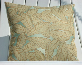 Pillows - Decorative Designer Pillows - Mint Green with Gold Leaf Design - at reduced pricing