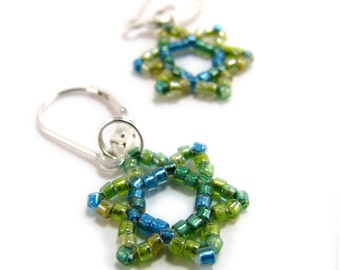 AVIVA jewish judaica hebrew star of david earrings beadwoven green aqua