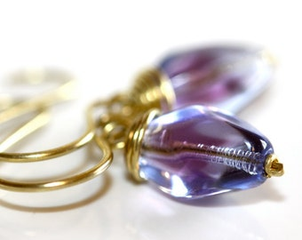 Blue and Purple Earrings - 'Somersaulting Cricket'