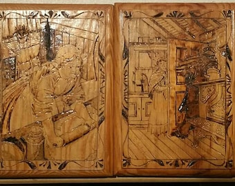 Vintage highly detailed pyrography,  wood burning cottage art