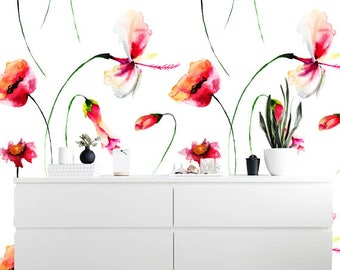 Removable wallpaper/Wallpaper/Peel and StickWallpaper/Self adhesive wallpaper/Modern Wallpaper /Watercolor flowers  wallpaper S026