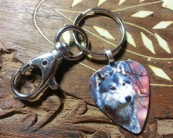 Guitar Pick KeyChain - Wolf Jewelry - Wolf Key Chain - Gray Wolf - Guitar Pick Jewelry - Pick Key Chain