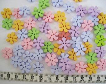 30pcs of Flower Button - 15mm - Pastel Pink Blue Purple Yellow Green