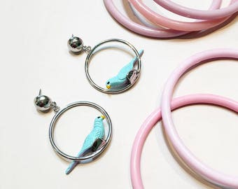 Retro Novelty Parrot Bird Hoop Earrings, Parrots on Parade, Gift