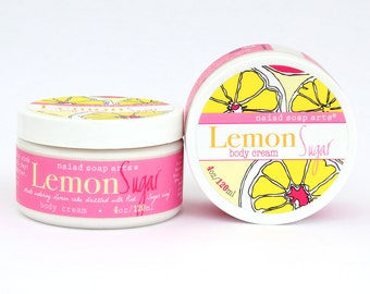 Lemon Sugar Shea Butter Body Cream - anti-oxidant rich - Vegan and Cruelty Free - 95% natural