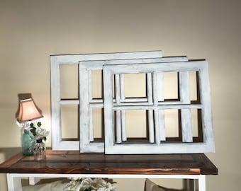 Old Distressed Window Frame - 4 Pane or 6 Pane Vintage Farmhouse Window Pane