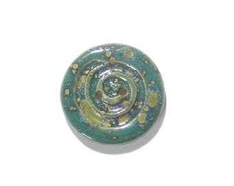 Green Jade Stoneware Button, (1) Two Hole One Inch Button, Rustic Spiral Bracelet Button, Scarf Button, Ceramic, Knitting Button