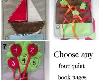 Felt quiet book - Toddler quiet book - Quiet book page - Toddler busy book - Busy book page - Felt busy book - Pick 4 pages plus cover #QB88
