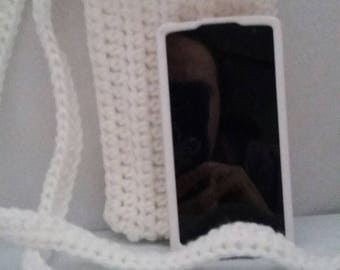 White cross body cell phone pouch crocheted