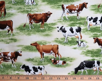 Down on the Farm Animals Cows Natural Robert Kaufman #6282 By the Yard