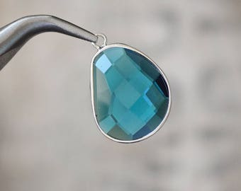 Faceted large marine BLUE bezel set Charms pendants - 30x21x6mm (1199)