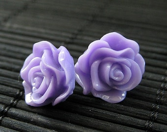 Purple Rose Earrings. Purple Flower Earrings. Lavender Earrings. Post Earrings. Flower Jewelry. Silver Stud Earrings. Handmade Jewelry.