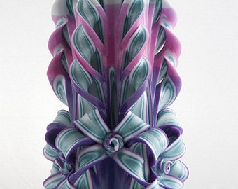 Carved Candle - Violet Candle - Fancy Candle - Unique Candle - Luxury Candle
