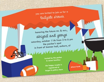 Sweet Wishes Football Tailgating Tent Invitations (Customize your colors!) - PRINTED - Digital File Also Available