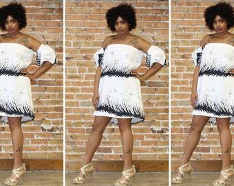black and white off Shoulder Dress