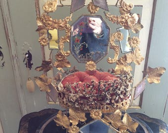 This is the most stunning French Vintage Marriage Piece, with gilded birds holding rings, swags of flowers, ivy leaves.