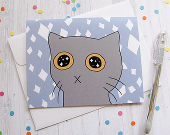 Cute Cat Card Any Occasion Card Cute Greeting Card Starry Eyed Kitten Just Because Card Thinking of You Note Funny Cat New Pet Sad Kitty