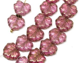 Purple Pink Czech glass beads Golden Purple maple leaf beads Gold luster Purple glass leaves - 11x13mm - 10Pc - 2473